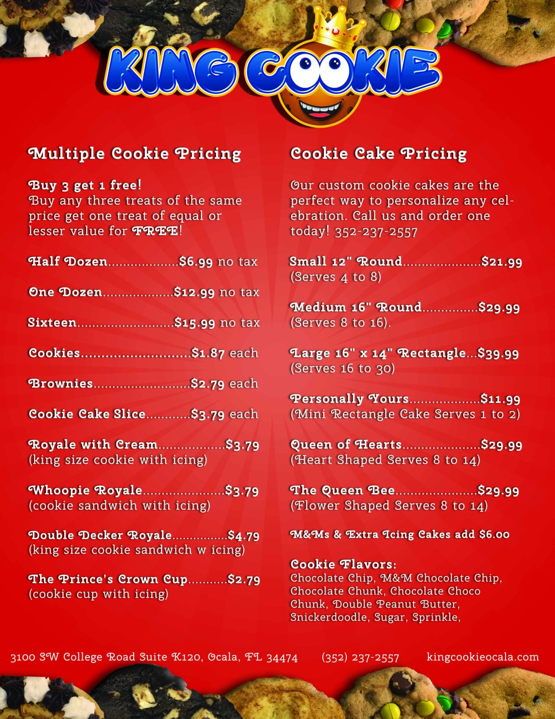 king cookie menu cookies and cakes