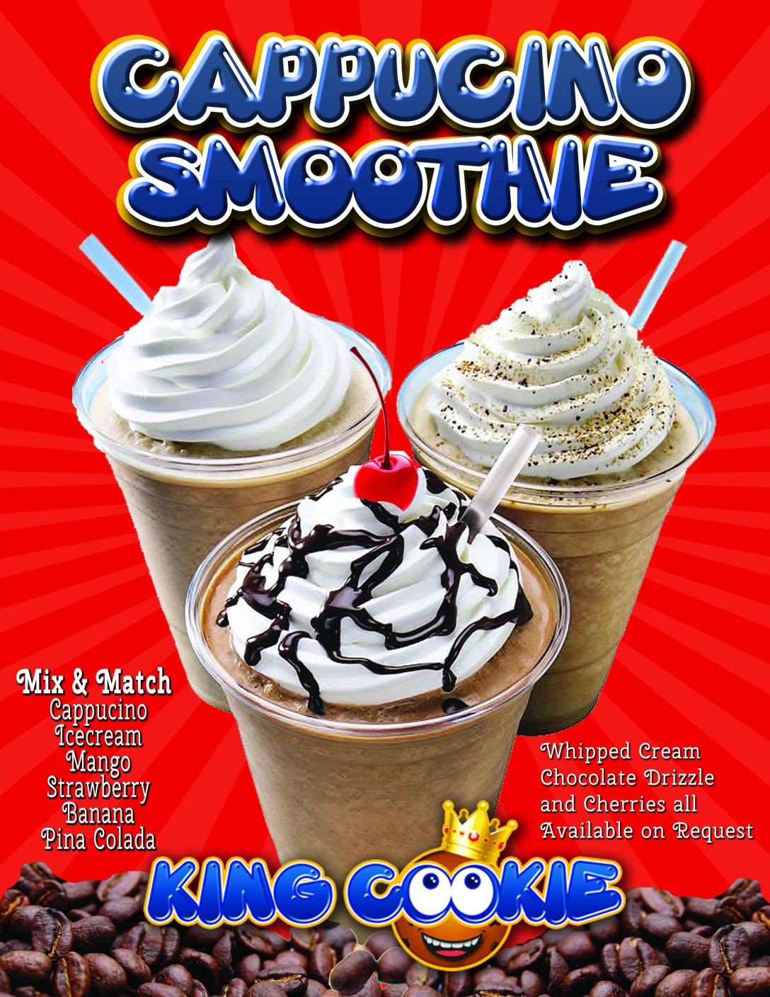 King Cookie specializes in cookies, custom cookie cakes, frozen drinks, and smoothies!