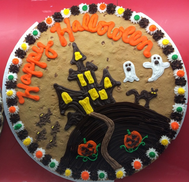 Custom Haunted House Halloween Cookie Cake. Call King Cookie Ocala today. 352-237-2557